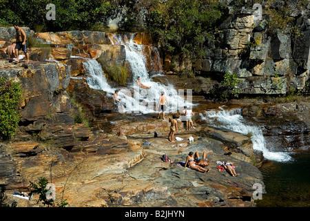 Almecegas II Waterfall, Chapada dos Veadeiros, Veadeiros Tableland, Goias, Brazil - Stock Image