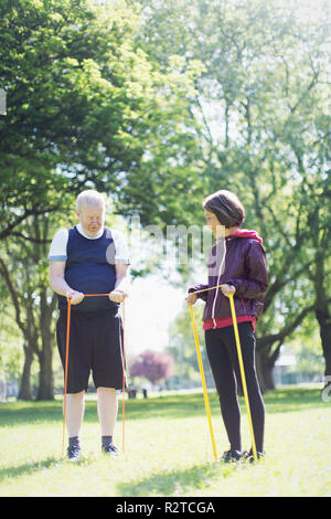 Active senior couple exercising, stretching with resistance bands in sunny park - Stock Image