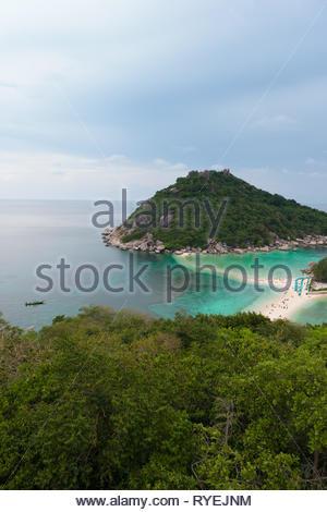 Nang Yuan island high angle view, Koh Tao island, Thailand - Stock Image