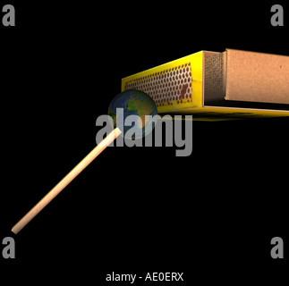 globe as matchstick - Stock Image