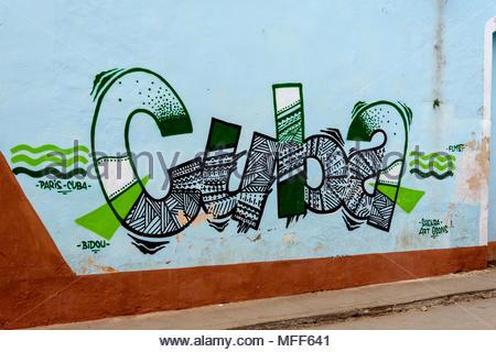 'Cuba' Mural – Trinidad - Stock Image