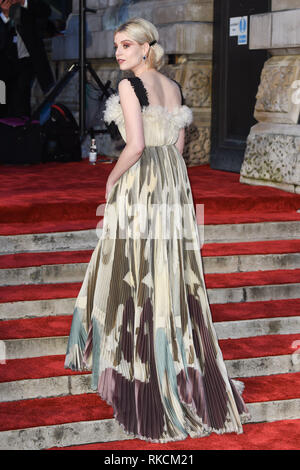 London, UK. 10th Feb, 2019. LONDON, UK. February 10, 2019: Lucy Boynton arriving for the BAFTA Film Awards 2019 at the Royal Albert Hall, London. Picture: Steve Vas/Featureflash Credit: Paul Smith/Alamy Live News - Stock Image