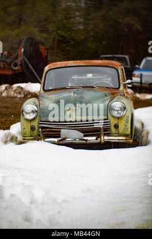 A 1950 Hillman Minx 4-door hardtop saloon, in a wooded area, in Noxon, Montana.  This image was shot with an antique Petzval lens and will show signs  - Stock Image