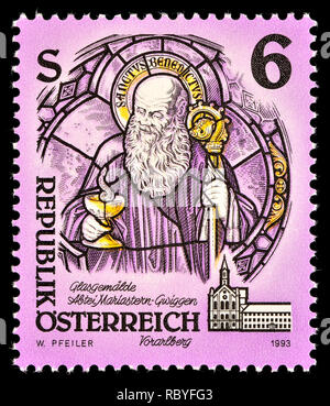 Austrian postage stamp (1993) : St. Benedict of Nursia, (stained-glass) - Stock Image