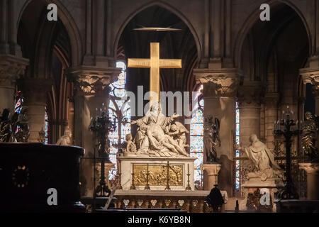 The Descent from the Cross (or Pieta) statue by Nicolas Coustouin the choir of Notre-Dame de Paris. Paris, France - Stock Image