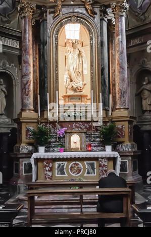 Altar inside the Chiesa di Sant'Agata Del Carmine, in Citta Alta, Bergamo, Italy - Stock Image