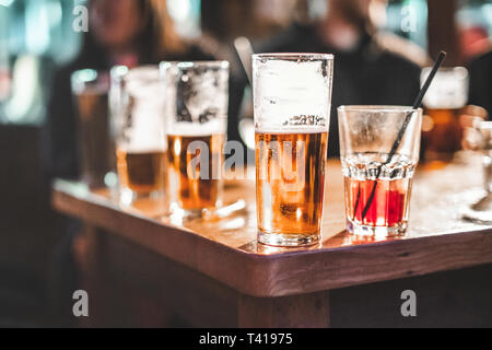 Close-up of drinks on a table - Stock Image