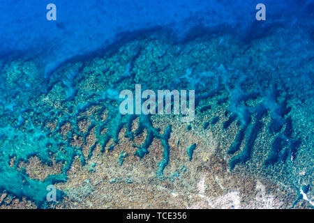 Aerial view of a coral reef, Australia - Stock Image
