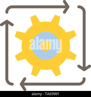 Workflow, Automation, Development, Flow, Operation  Flat Color Icon. Vector icon banner Template - Stock Image