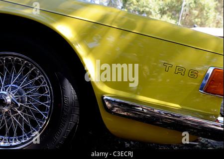 'Mimosa Yellow' Triumph TR6, classic British motor car. - Stock Image