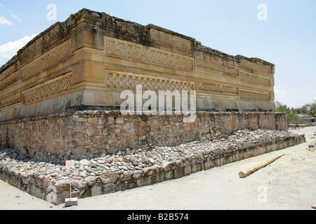 Grupo de las Columnas in the Courtyard of the Mitla Archaeological Site, San Pablo Villa de Mitla, Oaxaca State, - Stock Image