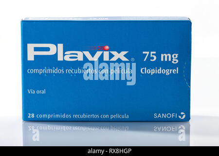 A box of Plavix from Sanofi brand isolated on white. Photo taken in Madrid, Spain, on March 8, 2019. - Stock Image