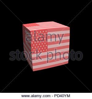 Digital Illustration - Pink Stars and Stripes flag cubed - Stock Image
