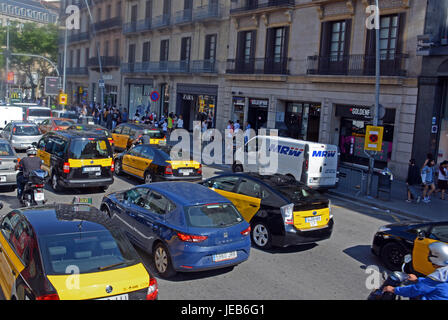 traffic in town center, Barcelona, Spain - Stock Image