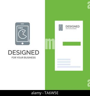 Buy, Mobile, Phone, Hardware Grey Logo Design and Business Card Template - Stock Image