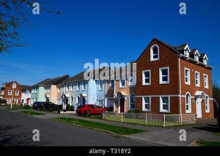Houses on Watermead, Aylesbury, Buckinghamshire, UK - Stock Image