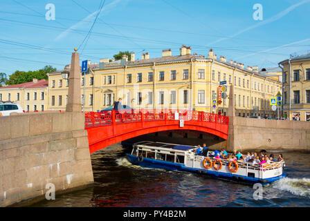 Red Bridge, Moyka river, Saint Petersburg, Russia - Stock Image