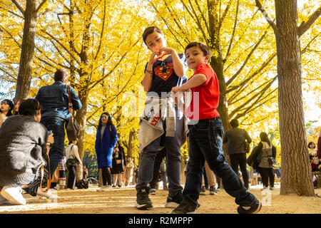 Two young brothers pose for a photo with a backdrop of trees with bright yellow autumn foliage. Nami Island, South Korea - Stock Image