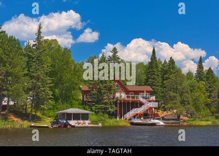 Cottage on Star Lake Whiteshell Provincial Park Manitoba Canada - Stock Image