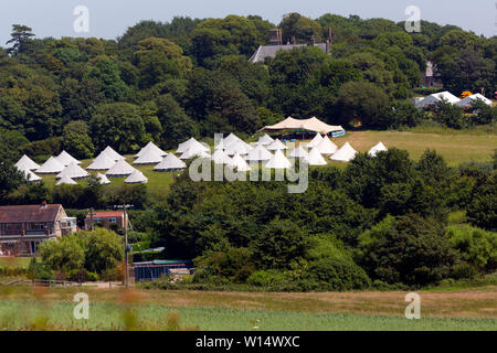 tents,bell,camp,site,field,scout,guide,woods,trees,Freshwater,Bay,Isle of Wight, England, UK, - Stock Image