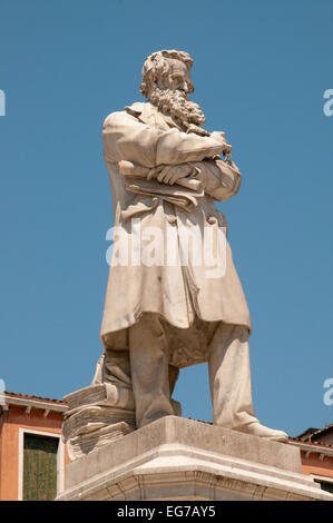 Statue of Niccolo Tommaseo linguist and author of eight volume dictionary of Italian language in Campo San Stefano - Stock Image