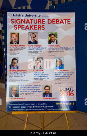 Hempstead, New York, USA. September 13, 2016. Poster is on display in lobby for events with Signature Debate Speakers: - Stock Image