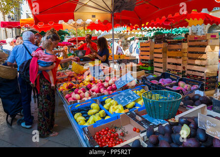 Aix-en-Provence, FRANCE, People Food Shopping, French Local  Farmer's Market, Outside - Stock Image