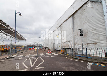Work begins on building the HS2 High Speed rail terminal in the centre of Birmingham. The covered burial site, Park Street, is seen, right. - Stock Image