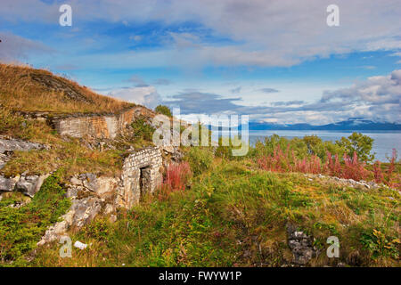 One of the battlements lining the coast near the former naval base which the Germans had installed in Bogen bay - Stock Image