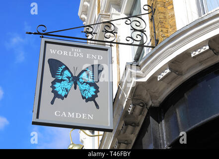 The famous The World's End pub in Camden Town, in north London, UK - Stock Image