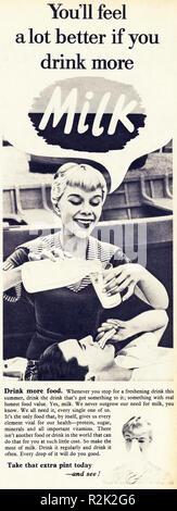 Original 1950s vintage old print advertisement from English magazine advertising Drink More Milk circa 1954 - Stock Image