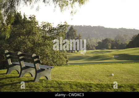 Golf Tee & Bench - Stock Image