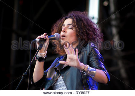SOPHIE DELILA performing live at Musilac summer festival, 11 july 2009 - Stock Image