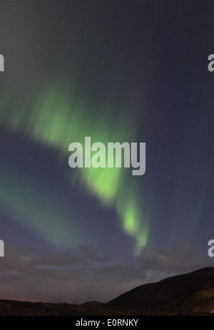Aurora above the Northern Lights Inn, near Grindavik, iceland - Stock Image