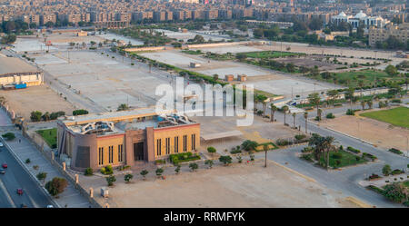Cairo, Egypt - July 27 2018: Exhibition land at Nasr City, with the General Authority for Investment and Free Zones building - Stock Image