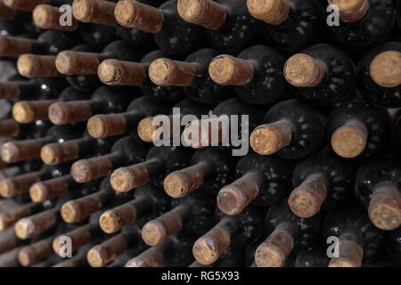 Oldish wines in racks in an old winery - Stock Image