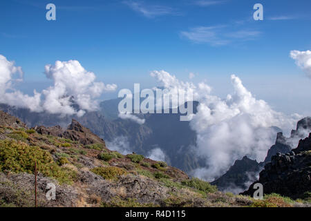 Looking towards the volcanic crater (Caldera de Taburiente) and centre of La Palma Island - Stock Image