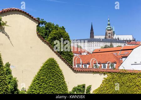 Prague Castle from Vrtba garden, Hradcany, Prague, Czech Republic - Stock Image