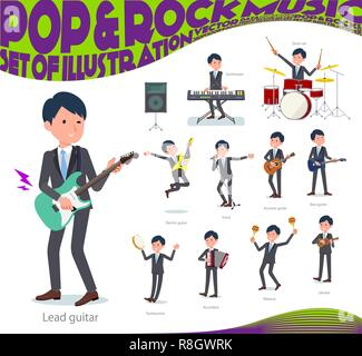 A set of businessman playing rock 'n' roll and pop music.There are also various instruments such as ukulele and tambourine.It's vector art so it's eas - Stock Image