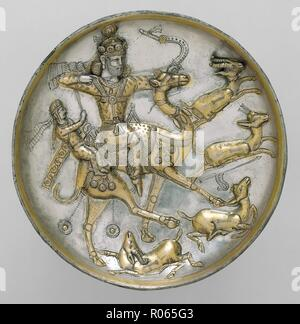 6379. Susanian silver plate engraved with a hunting scene, 5th. C. AD. Iran - Stock Image