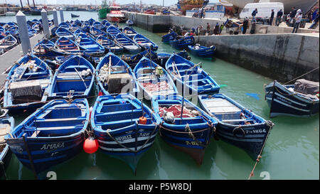 Traditional fishing boats in Essaouira, Morocco - Stock Image