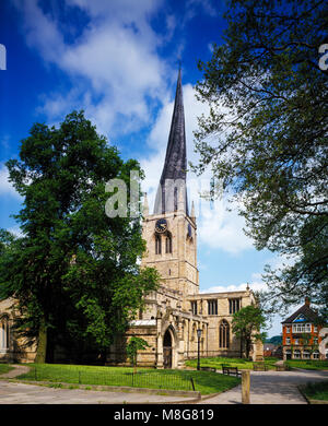 St. Mary and All Saints Church Chesterfield, Derbyshire England United Kingdom - Stock Image