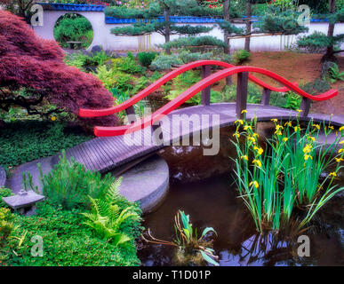 Bridge, pond and water lilies.  Park and Tilford Garden. Vancouver, BC - Stock Image