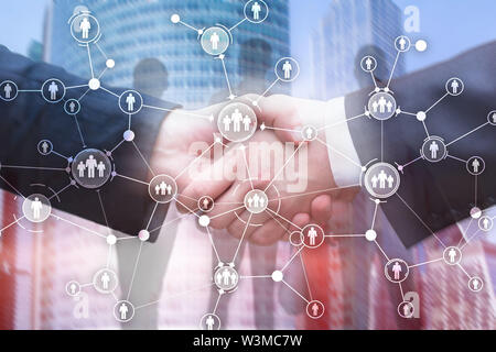 HR Human resources management peoples relation organisation structure virtual screen mixed media double exposure. - Stock Image
