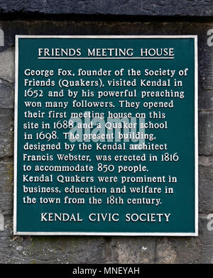 Friends Meeting House. Descriptive plaque, Kendal Civic Society. Stramongate, Kendal, Cumbria, England, United Kingdom, Europe. - Stock Image