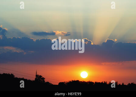 Amazing sunset with wonderful colors in summer - Stock Image