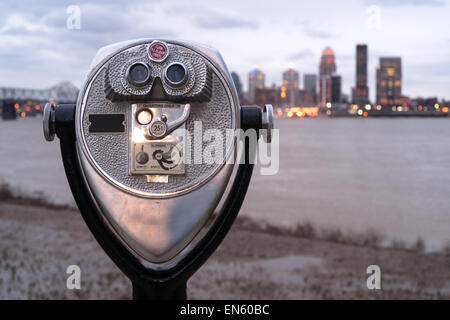 Falls of Ohio State Park has a viewer installed to see the sights - Stock Image