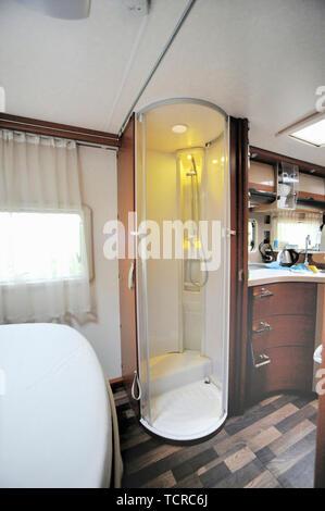 Interior shot of shower in motor home - Stock Image