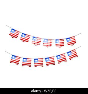 Liberia flag, vector illustration on a white background. - Stock Image