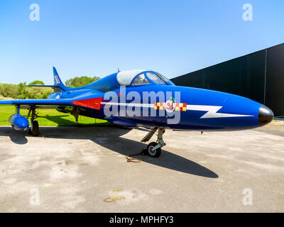 Hawker Hunter T7 two-seat trainer aircraft that entered service in 1955 on display at the Yorkshire Air Museum Elvington York UK - Stock Image